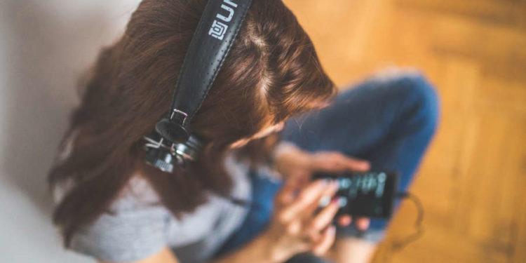woman girl technology music